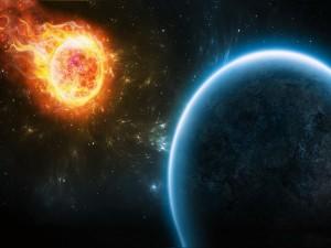 Sol en llamas aproximándose a un planeta