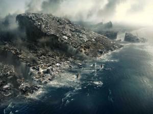 Ciudad hundiéndose en el océano