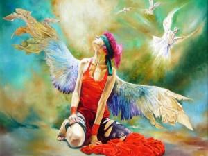 Ángel con los ojos tapados