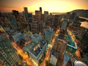 Postal: Vista de una ciudad a gran altura