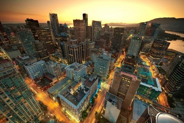 Vista de una ciudad a gran altura