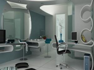 Cocina, salón y oficina de estilo moderno integrados en un mismo espacio