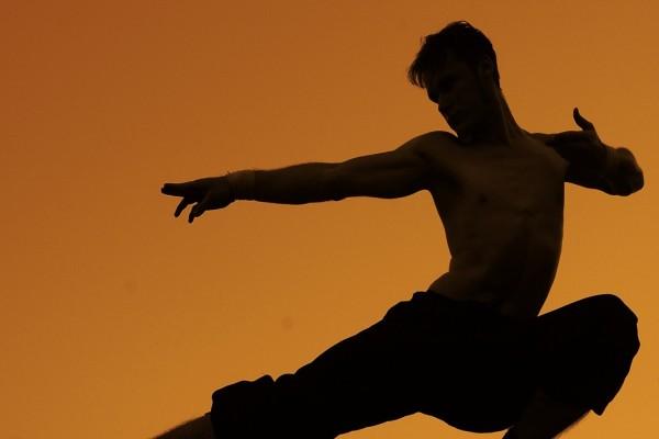 Silueta de un hombre en una postura de karate