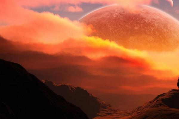 Impresionante puesta de sol en el espacio