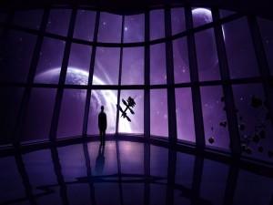 Mundos tras los cristales de una nave en el espacio