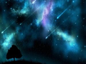 Postal: Lluvia de meteoritos en un cielo estrellado