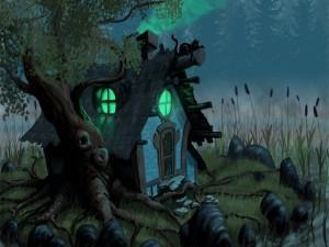 Postal: Casa encantada en un bosque