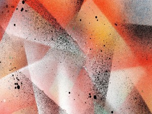 Salpicaduras sobre figuras geométricas abstractas