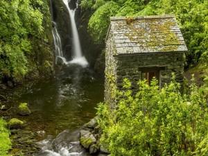 Postal: Pequeña cascada en el bosque junto a una construcción de piedra