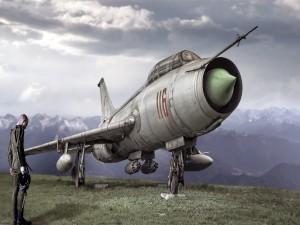 Postal: Piloto junto a un Sukhoi Su-7