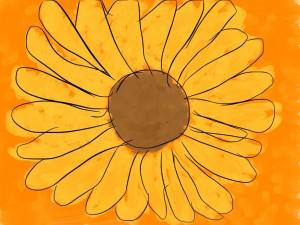 Postal: Margarita amarilla en fondo naranja