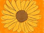 Margarita amarilla en fondo naranja