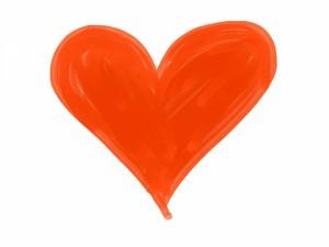 Postal: Un corazón naranja