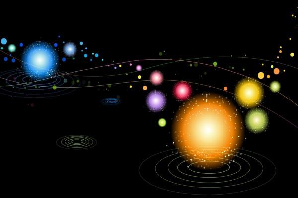 Círculos de colores en un fondo negro