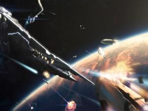 Postal: Naves en el espacio