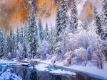 Parque Nacional de Yosemite tras una tormenta de nieve (California)