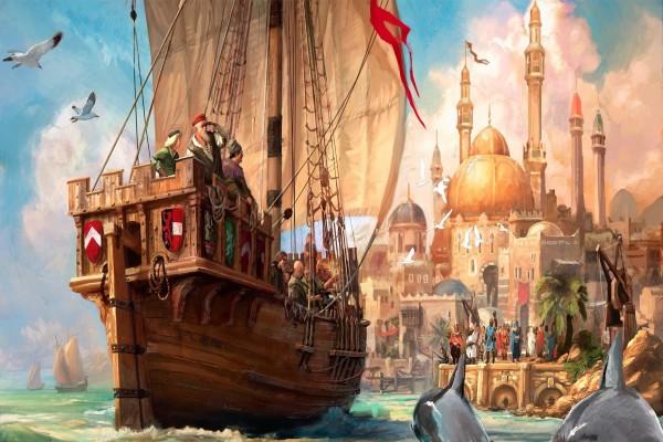 Barco atracando en una bonita ciudad
