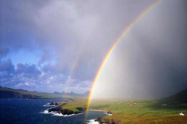 Dos arcoíris en la costa