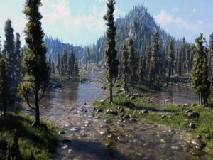 Un río entre pinos y piedras