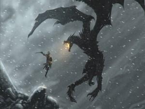 Postal: Dragón expulsando fuego a un guerrero