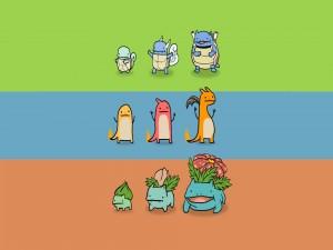 Evolución de tres Pokémons