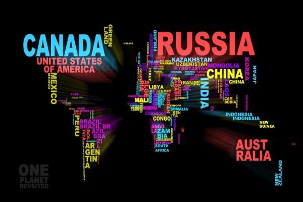 Mapa mundi formado con los nombres de los países