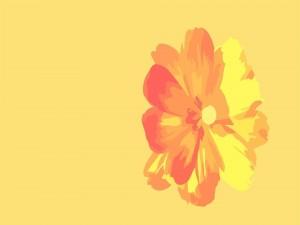Postal: Flor digital naranja y amarilla