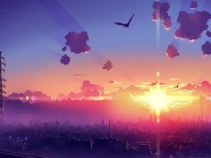 Aves volando sobre una ciudad de fantasía