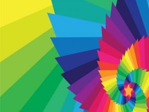 Postal: Estrella en una espiral de color