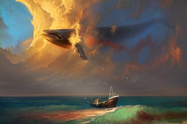 Ballena nadando en el cielo sobre un barco
