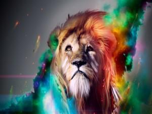 Postal: Hermoso león digital