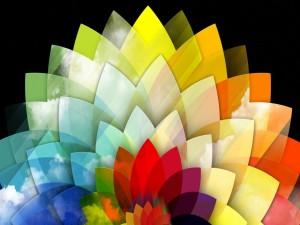 Nubes sobre una figura geométrica de colores