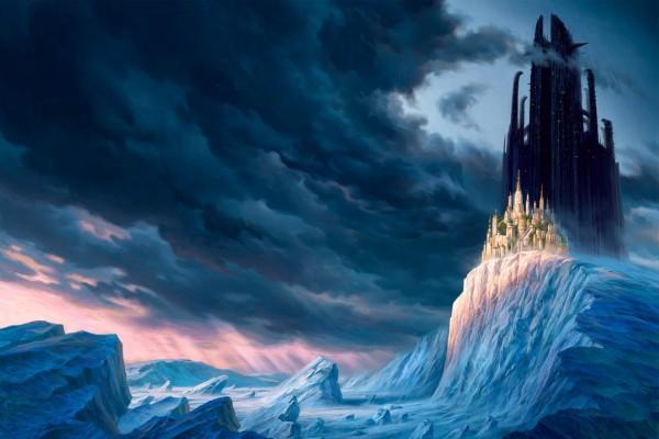 Dos grandes castillos en un paraje helado