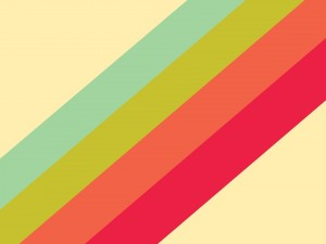 Postal: Cuatro franjas de colores en un fondo amarillo