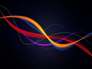 Postal: Líneas de varios colores flotando en un fondo negro