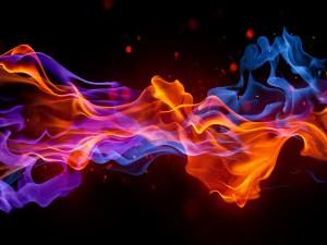 Combustión en un fondo negro