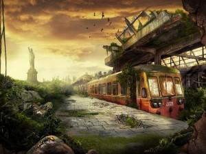 Estación destruida y abandonada