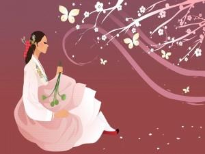 Mujer oriental disfrutando de la primavera
