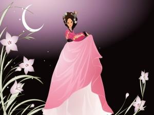 Postal: Geisha bailando bajo la Luna
