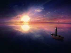 Postal: Mujer sobre una barca contemplando el horizonte
