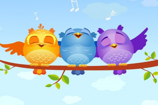 Tres búhos escuchando música