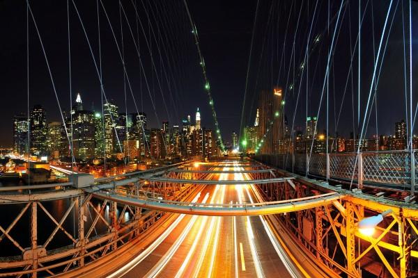 Noche en un puente de Nueva York