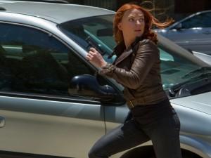 """Postal: Scarlett Johansson en una escena de """"Capitán América: El Soldado de Invierno"""""""