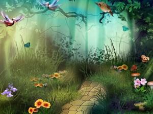 Postal: Maravilloso bosque de fantasía