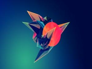 Postal: Figura geométrica flotante