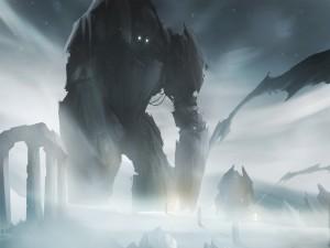 Robots gigantes entre ruinas