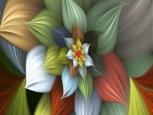 Una gran flor con pétalos de colores