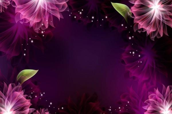 Marco de flores sobre fondo púrpura