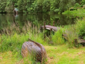 Antiguo muelle de madera sobre el lago