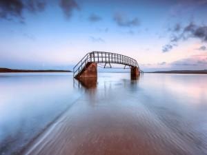 Puente metálico en el agua